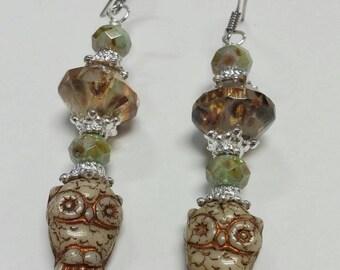 Owl Earrings, Czech Glass Dangle Earrings, Women's Jewelry, Tan Earrings, Brown Earrings, Gift Idea, Gift For Her