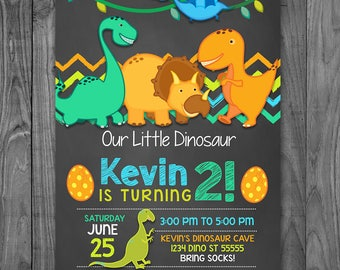 Dinosaur Birthday Invitation Chalkboard Blue & Green - Dinosaur Invite - Dinosaur Birthday Party - Dinosaur Party Favor - Printable Invite