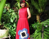 Maroon Modern Qipao Dress Flower Blue Khaki Black, Modern Cheongsam Dress