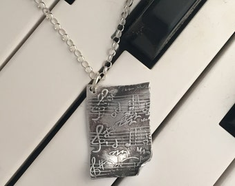 Handmade Fine Silver Musical Necklace Music Sheet Pendant | Sterling Silver Music Necklace with Music Notes | Music Jewelry for Music Lover
