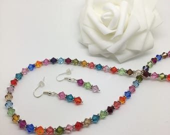 Festival of colour - Colourful glass jewellery set. Necklace and earrings.