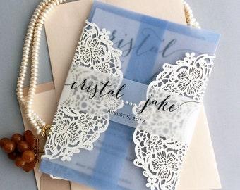 Personalized elegant laser cut flower lace invitation w/ ribbon vellum belly band inner jacket gate folding Wedding Invitation Free shipping
