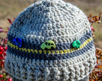 Hat with Cars, Crochet Toddler Hat, Crochet Photo Prop,Car and Road Boys Beanie, Tweed Boy's Hat, Toddler Boy's Hat, Racing cars Hat, Boy