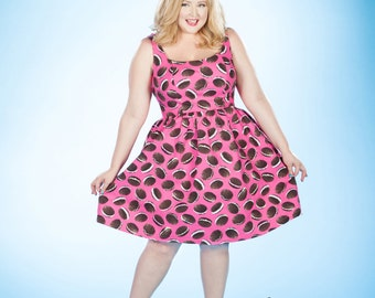 Whoopie Pie in the Sky Dress - Vintage Inspired Swing Dress / Plus Size / Party Dress / Novelty Print / Prom