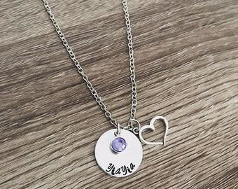 YiaYia necklace / Hand stamped / Yiayia birthstone necklace / Gift for Yia Yia / heart charm / Personalized / Grandma / gift from grandkids