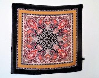 Vintage Silk Scarf, Tie Rack silk Scarf, Red Black Gold Silk Scarf, Made in Japan