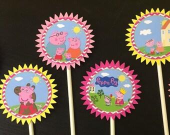 Peppa Pig Cupcake Toppers (6), Peppa Pig Birthday Party, Peppa Pig Cake Toppers, Peppa Pig Birthday, Peppa Pig