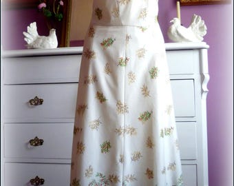 Original 1970 s era vintage floral dress , satin silk, handmade, second hand, Eu-Size 38-40