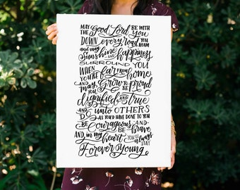 Forever Young Lyrics FREE SHIPPING Handlettered Modern Calligraphy Canvas Print Quote Canvas Art Nursery Wall Art Digital Download INCLUDED