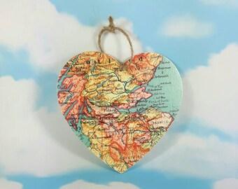 Edinburgh Map Wooden Wall Hanging Heart