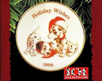 101 Dalmatian Dogs Christmas Porcelain Plate Ornament NIB Hallmark QX16544 Disney 1996