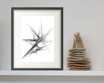 Black and White Abstract Art - Abstract PRINTABLE Art, Fractal Art, Minimalist Art, Contemporary Wall Art, Minimal Print, Modern Wall Art