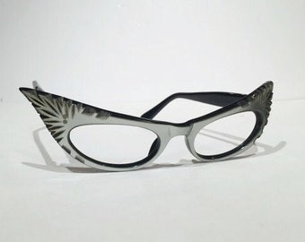 Vintage Cat Eye Eyeglasses Gray Silver Glasses Frames Cut Out Design Extreme Cateye, Frame France Curly Winged Pin Up Bombshell Rockabilly