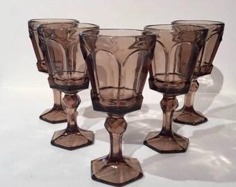 Brown Fostoria Virginia Wine Goblets, Set of 5 Vintage Brown Glass Wine Goblets, Wine Glasses Wedding Table