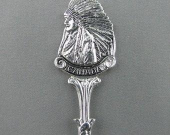 Indian in full Headdress CALGARY Alberta Canada Collectible SOUVENIR Spoon Stampede City Calgary