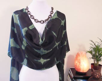 Reverse Shibori Silk Scarf Black & Emerald Green Habotai Scarf Wrap one of a kind bohemian