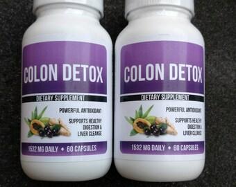 2X Colon Cleanse Detox - 2 Bottles 120 Capsules 7 oz