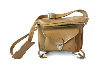 Vintage Camera Bag Vintage Leather Camera Bag Chase Camera Bag Beige Leather Camera Bag Made in Japan Vintage Structured Bag Crossbody Bag