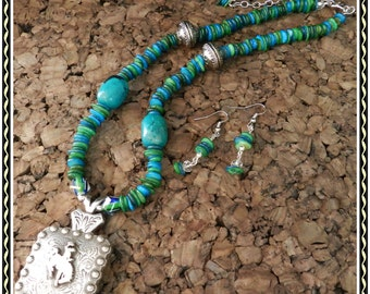 Wyoming Bucking Horse Concho Necklace and Earrings