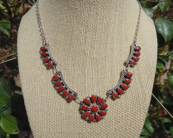 Paul and Nancy Leekity ~ Zuni Sterling Silver and Red Coral Petit Point Necklace