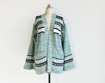 vintage space dye sweater / 70s bell sleeve cardigan / mint green & black / womens S - M - L