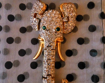 Vintage Articulated Rhinestone Elephant Brooch Pin