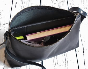 Black leather handbag, leather shoulder bag, real leather, crossbody bag, handbag with zipper, black leather purse, black leather
