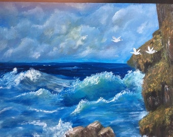 Oil Painting on Canvas, Wall Art, Ocean View