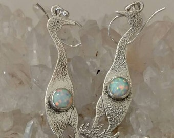 Opal Crane Earrings