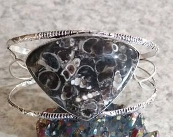 Turritella Fossil Agate Bangle