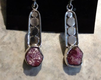 Natural Pink Tourmaline Rough Earrings