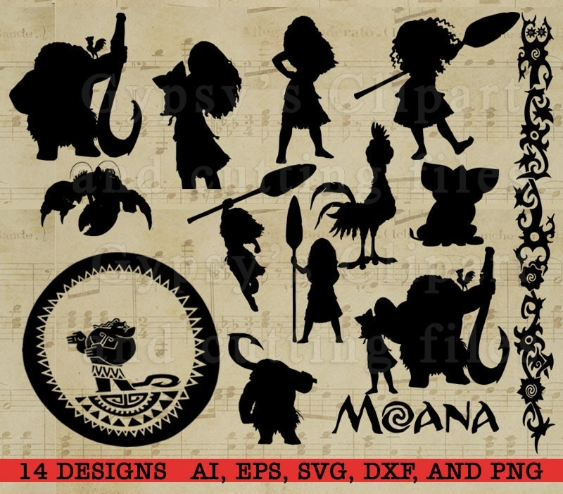 Moana Silhouette Disney Princess Moana Disney svg Cutting