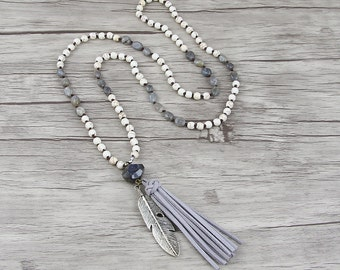 Labradorite bead necklace Grey Suede tassel necklace white bead necklace bead tassel necklace BOHO bead necklace Gemstone necklace NL-012