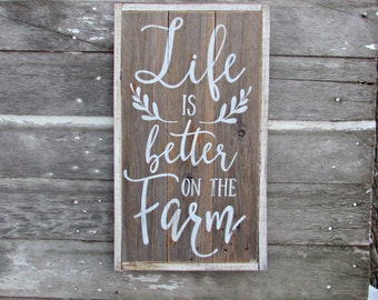 Life is Better on the Farm | Pallet Sign | Wood Sign | Rustic | Primitive | Farmhouse | Distressed | Farm Decor | Country | Farm Sign