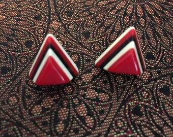 Vintage Bakelite Triangle Pierced Earrings  Triangle Stacked