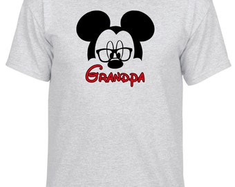 Disney Inspired Mickey Mouse Grandpa with Glasses Custom Vacation tshirt
