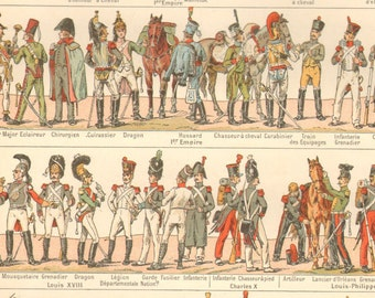 1890's Antique Military Costume Print Armies Weapons Flags Larousse Original Lithograph Book Plate
