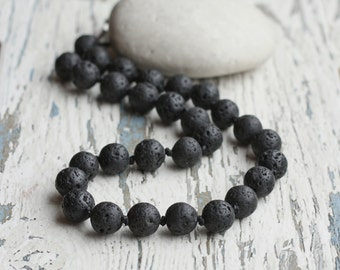 lava necklace men beaded necklace, black necklace, gift for him, black lava jewelry, boyfriends gift, stone surfer necklace large statement
