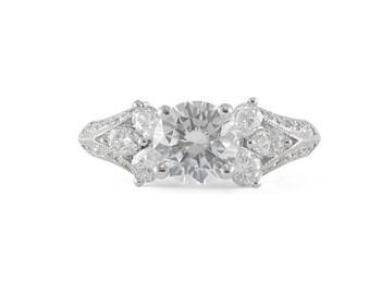 Round Diamond, Semi-Mount Ring, Engagement Ring, 18k White Gold, Bead Setting, VS Clarity, Size 4.25, Semi-Mount Engagment, White Gold Ring