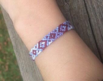 Purple and Burgundy Diamond Friendship Bracelet