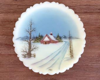 Fenton Winter Scene Collectible Plate; Christmas Decor; Fenton Christmas Plate; Custard Glass; Christmas Collectible; Fenton Glass Plate