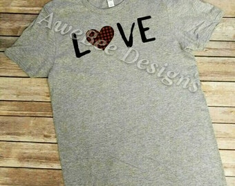Love Plaid Heart Shirt, Motherhood shirt, mom life shirt, Mom shirt, Mom gift, Mother's Day gift, Valentine's Day gift