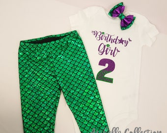 Little Mermaid Birthday Girl Party Outfit, Ages 2 - 7, Purple Glitter Bodysuit, T-Shirt, Set, Leggings, Bow,Carters,Ariel,Baby,Girls,Toddler