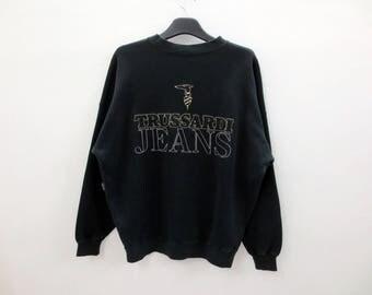 Trussardi Sweatshirt Vintage Trussardi Crewneck Trussardi Jeans Preppy Sweat Men Size S/M