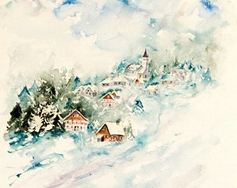 "Mountain original watercolor, winter watercolor, original mountain chalets painting,winter painting - 15"" x 22"""