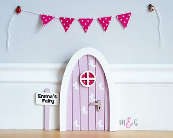 Personalised lilac unicorn fairy door great gift for girls and girls room decor - pretend play - tooth fairy door - magic - miniature -