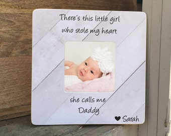 SUMMER SALE Father Daughter Frame  Gift Dad Gift  There's this girl who stole my heart Personalized Picture Frame