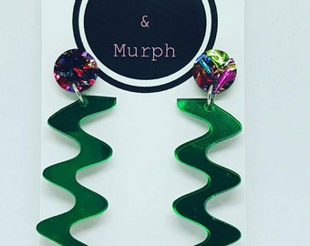 Laser Cut Acrylic Zig Zag Green Mirror & Confettti Dangle Earrings