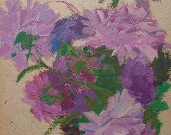 VINTAGE ART Original Oil Painting by Soviet Ukrainian Russian artist Pushnikova G. 1966, Signed, Flowers painting, Floral picture