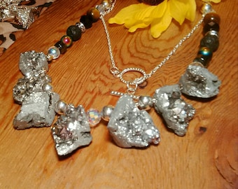 Amazing silver chunky electric druzy geode bohemian modern statement necklace, silver geode statement necklace, bohemian necklace, raw geode